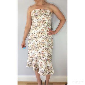 Eva Mendes floral strapless mermaid ruffle dress